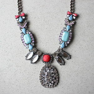 Blue and Coral crystal statement necklace